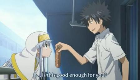 This series starts with Index on a railing, hungry, and Touma with a hogie/hero/sub/grinder.