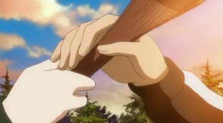 Their hands accidentally touch. In anime, this means something awkward is going to happen.