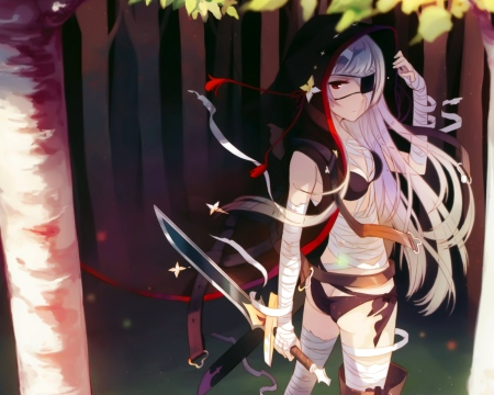 animekida_com - Ecchi anime girls -  bandage bikini_top cleavage eyepatch forest h2so4 kakusansei_million_arthur long_hair sword weapon-1755034133